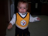 Mary in a Steelers cheerleading outfit.